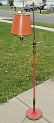 RARE Antique 1910s - 20s Era - PINK or Salmon - ALL BRASS Student Floor Lamp $165.00