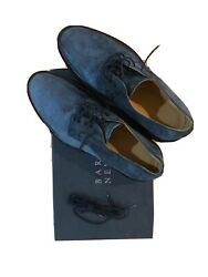 Barneys New York Grey Blue Suede Bluchers Oxford Shoes Size US 9M Made In Italy $83.99