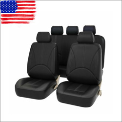 9Pcs US PU Leather Car Cover Seat Protector Cushion Black Front Cover Universal $44.89