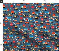 Construction Truck Tool Blue Boy Stop Sign Fabric Printed by Spoonflower BTY $30.00