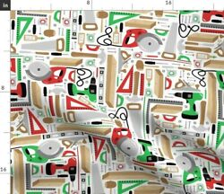 Tool Wood Man Guy Construction Christmas Fabric Printed by Spoonflower BTY $35.00