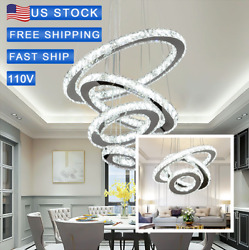 Modern LED Chandeliers Crystal Pendant Lamp Round Ceiling Light Ring Adjustable $99.99