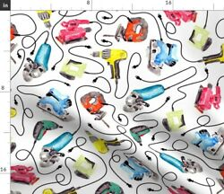 Drill Saw Watercolor Power Tool Bandsaw Jigsaw Fabric Printed by Spoonflower BTY $35.00