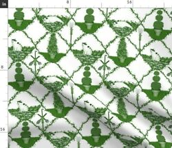 Garden Tool Cat Green Trellis Ogee Toile Fabric Printed by Spoonflower BTY $35.00
