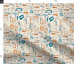 Woodworking Woodwork Tools Saw Hammer Nails Fabric Printed by Spoonflower BTY $35.00
