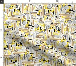 Tool Wood Man Guy Construction Home Build Fabric Printed by Spoonflower BTY $35.00