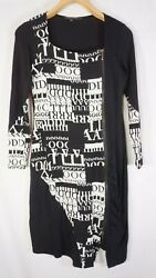 ROBERT KITCHEN Canada Dress Size Small Zip faux wrap Letters Black stretch $29.99