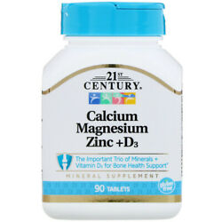 21st Century Calcium Magnesium Zinc D3 90 tablets free same day shipping $6.79