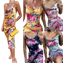 Women Sexy V neck Floral Printed Dress Sleeveless Beach Holiday Dresses Skirt $10.69