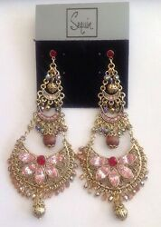 NORDSTROM SEQUIN NYC MULTI COLOR PINK CRYSTAL CHANDELIER EARRINGS-80% OFF-NWT!