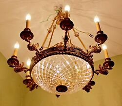 Spectacular French Empire Style Gilt Swan and Cut Glass 8 Light Chandelier -
