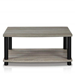 Modern Grey Coffee Table Wood End Side Shelves Shelf Living Room Furniture $35.54