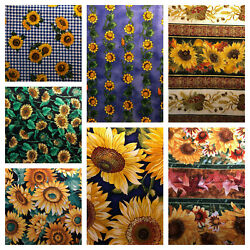 Choice Sunflower print FABRIC COTTON QUILT Great for Masks. $4.59