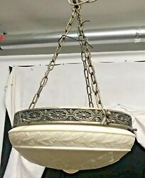 Antique Hanging White Frosted Glass Dome $325.00