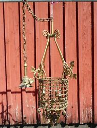 Antique Hanging Brass Hall Fixture Polished and Rewired Circa 1900 $575.00