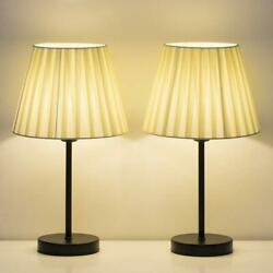 Modern Bedside Lamps Set of 2 Nightstand Lamp Beige Fabric Shade Lamps all Room $26.99