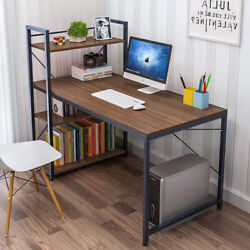 Wood Computer Desk with 4 Tier Shelves Modern PC Laptop Study Table Home Office $129.99