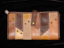Fossil Brand Wallet Brown Multi Leather Decorative Exterior