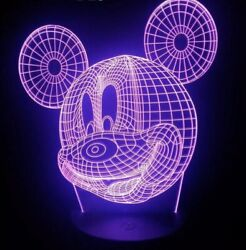 MICKEY MOUSE DISNEY 3D USB LED 7 Color Night Light Touch Table Lamp Gift $17.10