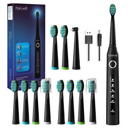 Fairywill Electric Toothbrush Whitening Black Sonic Toothbrushes 12 Brush Heads $22.87