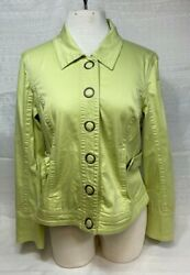 Live A Little Large Snap Jacket Size Large Green $18.74