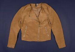 H&M Faux Suede Leather Moto Biker Jacket In Brown Size 12