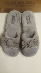 UGG Koolaburra Women#x27;s Gray Fur Bow Slide Slippers Sz 7 NIB $39.95