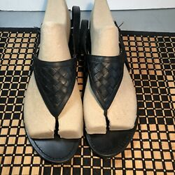 Barneys New York Womens 10 Black Slingback Leather Thong Sandals Buckled Strap  $40.00