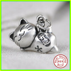 Pendant Women 100% Real 925 pure silver Cute Cat Charm Jewelry Girls Decorations $18.99