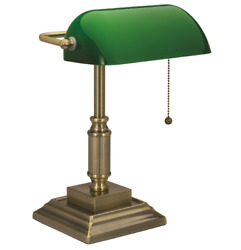 Classic Bankers Desk Lamp W Green Glass Shade Student Antique Piano Table Light $47.99