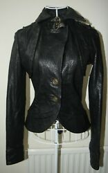 ***BNWT***STUNNING ALL SAINTS ILKA BLACK LEATHER JACKET SIZE UK10 US6 EU38 $298.99