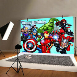 Avengers Backdrop Boys Happy Birthday Party Photography Background Banner Decor $8.99