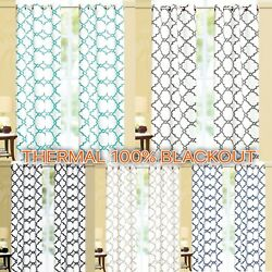 Geometric 100% Thermal Blackout Insulated Grommet Window Curtain Panel Heavy $10.48