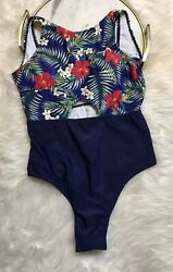 Cupshe Swimsuit One Piece Womens Size M Floral Blue NWT $14.00