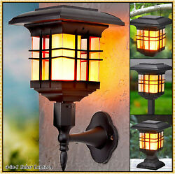 4 in 1 Solar Flame Lantern Lamp Stand Stake Wall Mount Flickering Outdoor Light