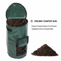Collapsible Garden Compost Bag With Lid Kitchen Waste Bags Refuse Sacks Bin $9.59