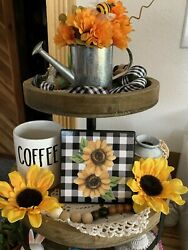 SUNFLOWERS MINI SIGN TIERED TRAY FARMHOUSE RUSTIC HOME BUFFALO PLAID DECOR $7.25