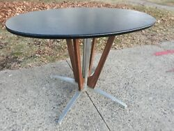 Vintage Mid Century Modern Vinyl Metal Wood Dining Oval Table deco art base room $110.00