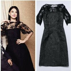 Runway Women's Jacquard Weave Lace Crewneck Dress Party Cocktail Gown Dress Sexy