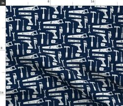 Tools Navy Tool Little Arrow Workbench Baby Fabric Printed by Spoonflower BTY $35.00