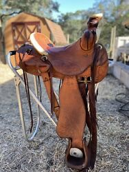 Custom Fully Tooled Double L Western Saddle 14 Inch Deep Seat By Clif Lynch $990.00
