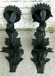 Antique Pair of Early 20th Century Iron Wall Sconces $250.00
