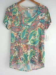 Lularoe Classic T Paisley Floral Short Sleeve High Low Womens Size Small HTF $22.99