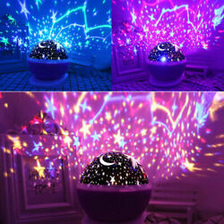Starry Night Sky Projector Lamp Kids Gift Moon Star Light Rotating Cosmos in US $9.35