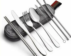 Portable UtensilsTravel Camping School Lunch Cutlery set 8-Piece SILVER bulksave $11.75