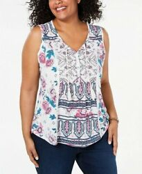Styleamp;Co Women#x27;s PLUS Summer White Floral Printed Tasseled Top Size 1X 2X $10.99