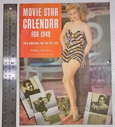Movie Star Calendar for 1949 pub by Motion Picture Magazine $20.00