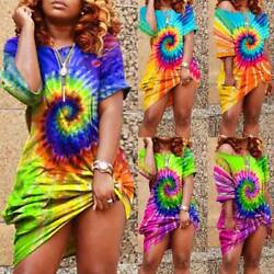 Women's Colorful Tie-Dye Short Sleeve Dress Summer Beach Casual Loose Dresses $8.59