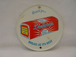 Vintage Reach For Dreikorns Orange Wrap Bread Convex Round 5.75 Metal Sign  $9.99