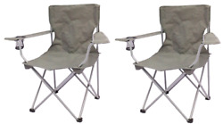 2 Pack Quad Folding Camping Chair Steel Frames Armrests Gray Outdoor Seat NEW $31.99